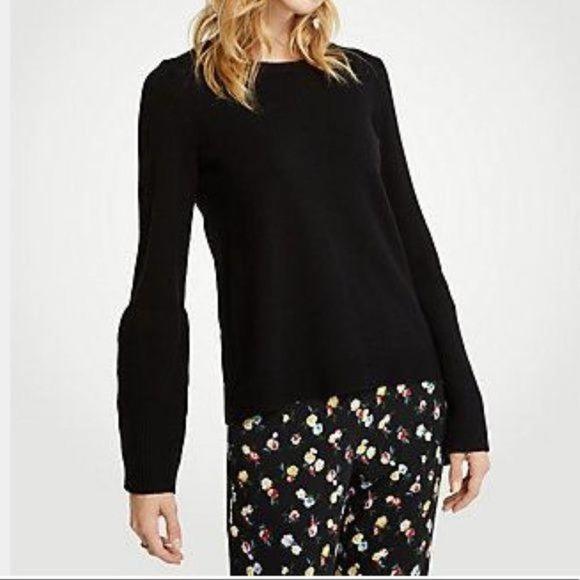 Ann Taylor Black Wide Rib Sleeve Sweater sz L